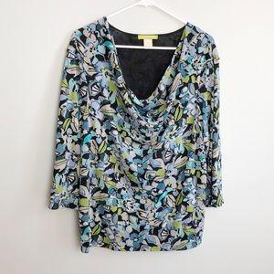 Sigrid Olsen floral blouse top plus size 2X
